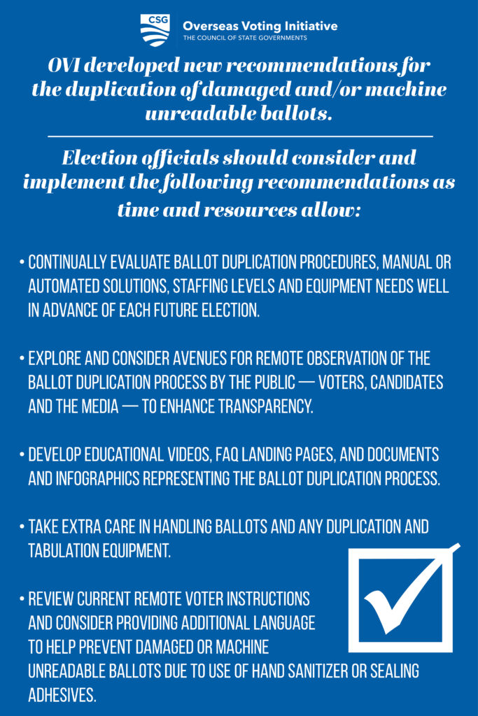 Ballot Duplication Recommendations: Recommendations are in text