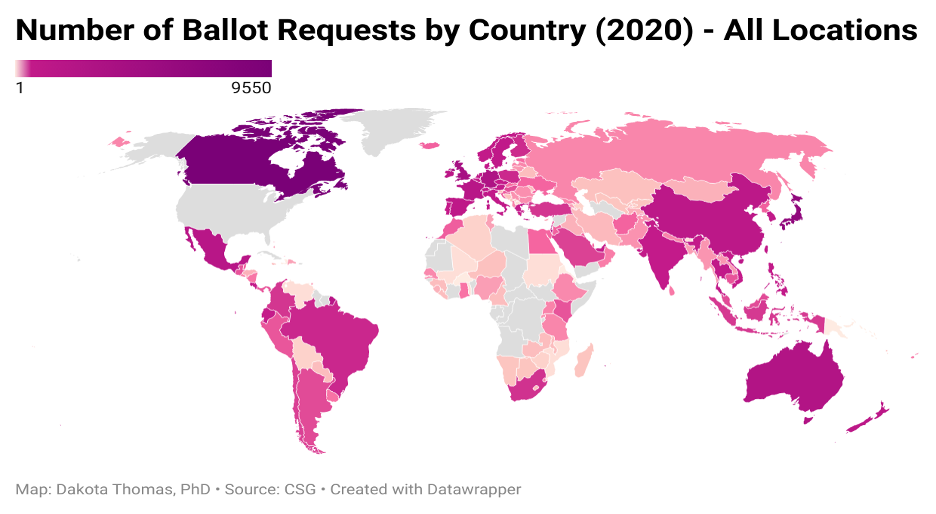Heat map of the World showing number of ballot requests by country excluding US